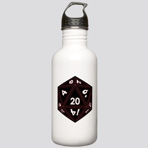 D20 Black with Red Trim Water Bottle