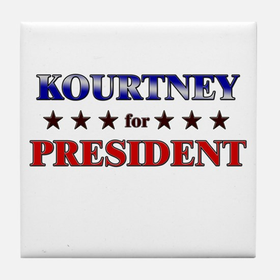 KOURTNEY for president Tile Coaster