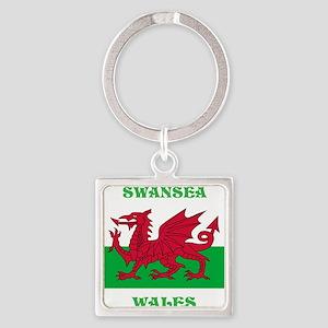 Swansea Wales Square Keychain