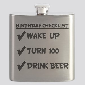 100th Birthday Checklist Drink Beer Flask