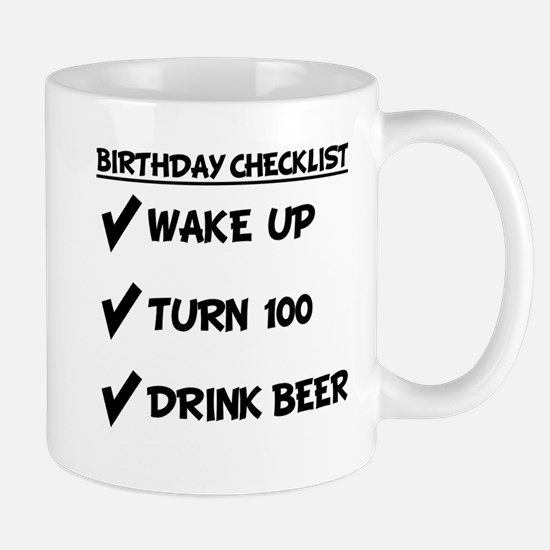 100th Birthday Checklist Drink Beer Mugs