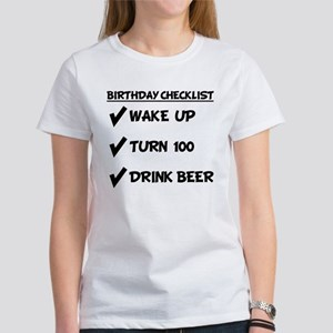 100th Birthday Checklist Drink Beer T-Shirt