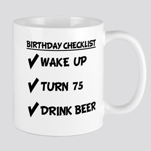 75th Birthday Checklist Drink Beer Mugs