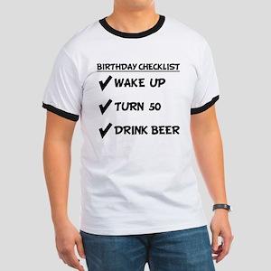 50th Birthday Checklist Drink Beer T-Shirt