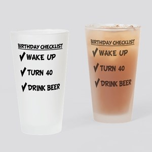 40th Birthday Checklist Drink Beer Drinking Glass