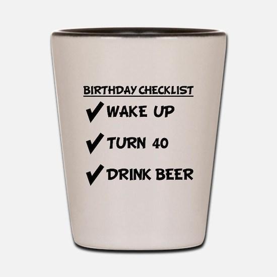 40th Birthday Checklist Drink Beer Shot Glass