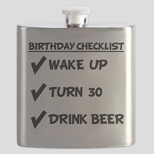 30th Birthday Checklist Drink Beer Flask
