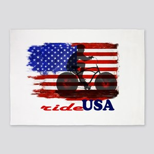 ride USA American Flag Background 5'x7'Area Rug