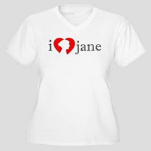 I Love Jane Silhouette Women's Plus Size V-Neck T-