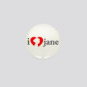 I Love Jane Silhouette Mini Button