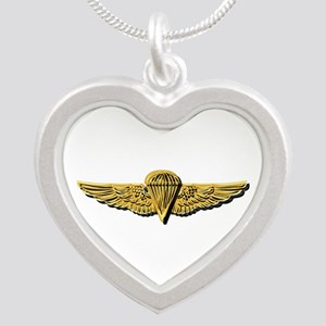Navy - Parachutist Badge N Silver Heart Necklaces