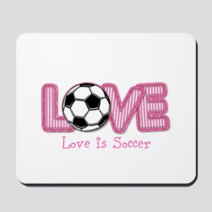 Love is Soccer: Pink Personalize Mousepad