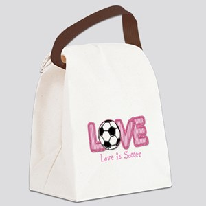 Love is Soccer: Pink Personalize Canvas Lunch Bag