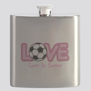 Love is Soccer: Pink Personalize Flask