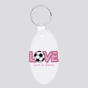 Love Is Soccer: Pink Personalize Keychains