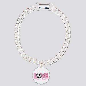 Love Is Soccer: Pink Charm Bracelet, One Charm