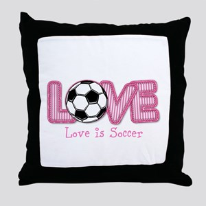 Love is Soccer: Pink Personalize Throw Pillow