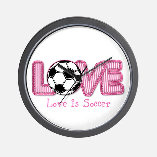 Love is Soccer: Pink Personalize Wall Clock