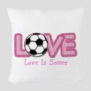 Love Is Soccer: Pink Woven Throw Pillow