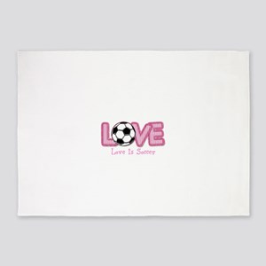 Love is Soccer: Pink Personalize 5'x7'Area Rug