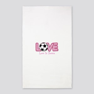 Love is Soccer: Pink Personalize Area Rug