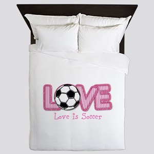 Love is Soccer: Pink Personalize Queen Duvet
