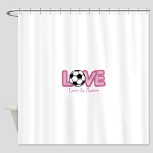Love is Soccer: Pink Personalize Shower Curtain