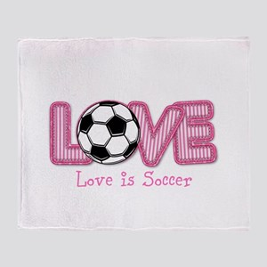Love is Soccer: Pink Personalize Throw Blanket