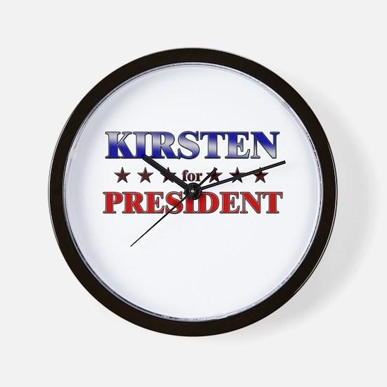 KIRSTEN for president Wall Clock
