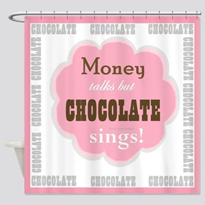 Chocolate Sings Chocolate Text Shower Curtain