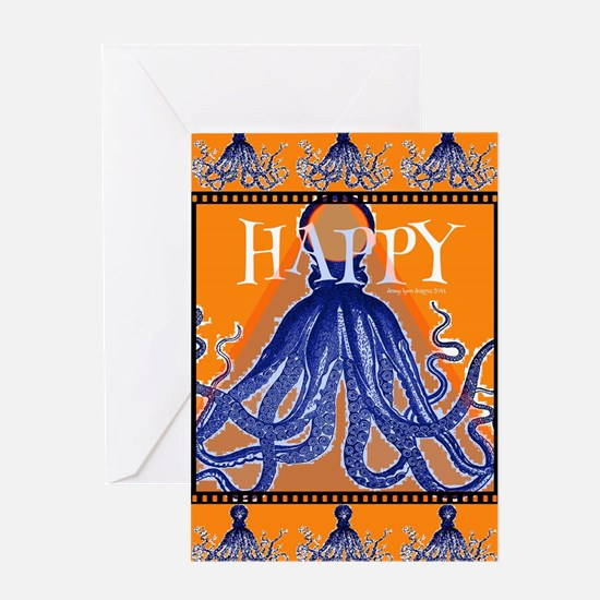 Too Happy Octopus Card Greeting Cards