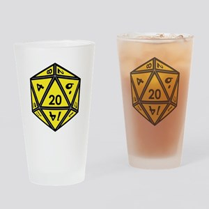 D20 Yellow Drinking Glass