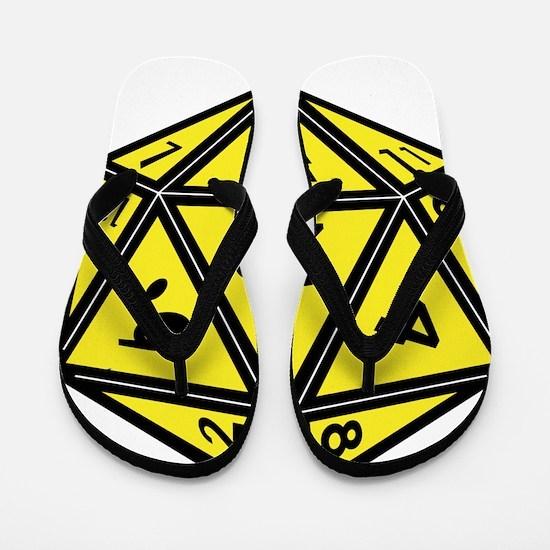 D20 Yellow Flip Flops