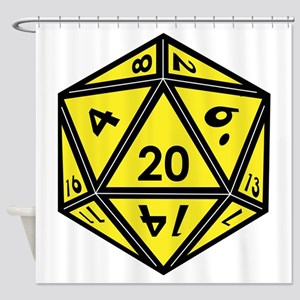 D20 Yellow Shower Curtain