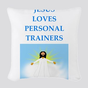 personal trainer Woven Throw Pillow