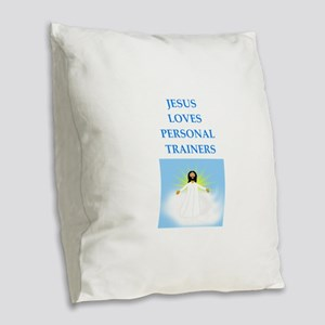 personal trainer Burlap Throw Pillow