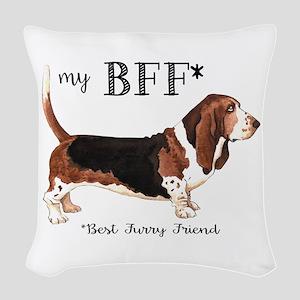 Basset BFF Woven Throw Pillow