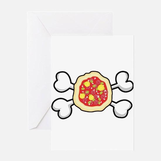 Funny Pizza & Crossbones Design Greeting Card