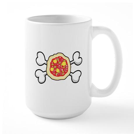 Funny Pizza & Crossbones Design Large Mug