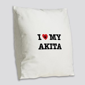 I Heart My Akita Burlap Throw Pillow