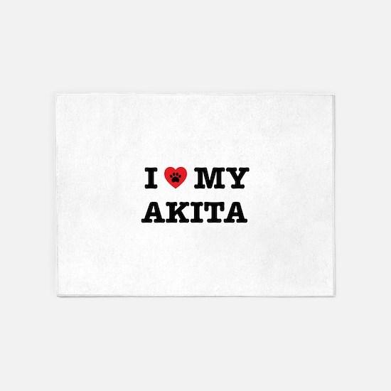 I Heart My Akita 5'x7'Area Rug