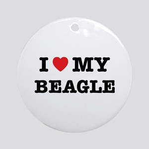 I Heart My Beagle Round Ornament