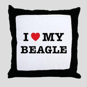 I Heart My Beagle Throw Pillow