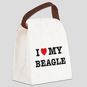 I Heart My Beagle Canvas Lunch Bag