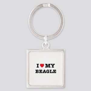 I Heart My Beagle Keychains