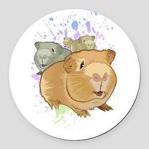 Guinea Pigs Round Car Magnet