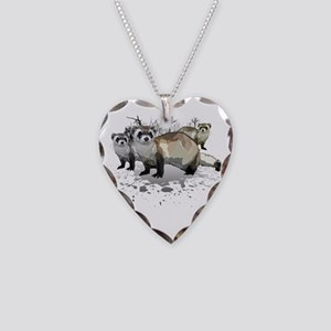 Ferrets Necklace Heart Charm
