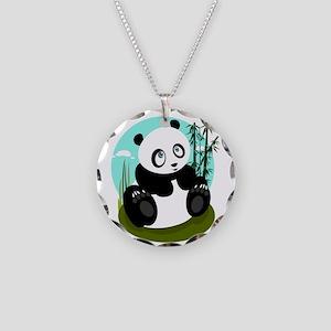 Baby Panda Necklace Circle Charm