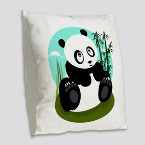 Baby Panda Burlap Throw Pillow