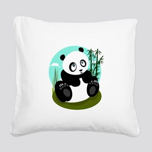 Baby Panda Square Canvas Pillow